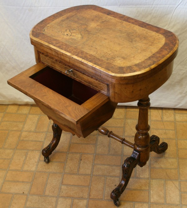 Victorian inlaid walnut work and games table