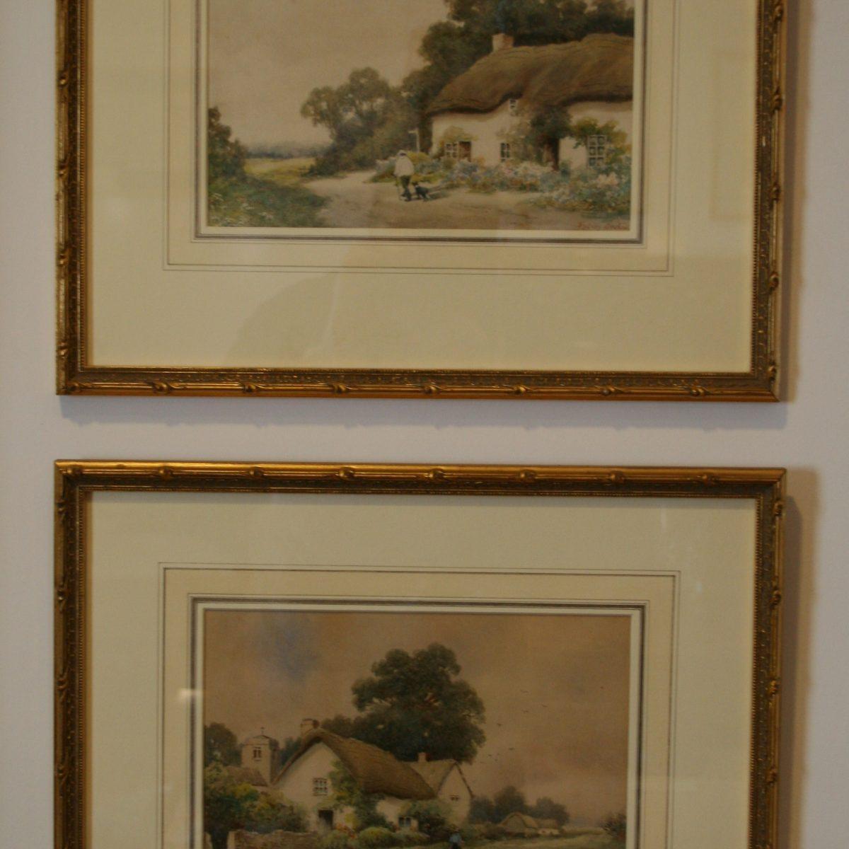 watercolours of cottage scenes/williamsantiques