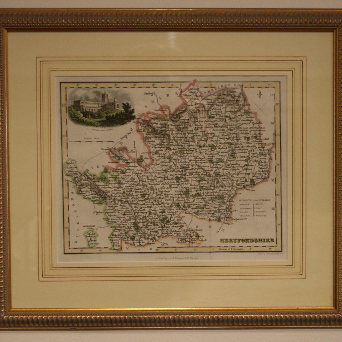 map of hertfordshire/williamsantiques