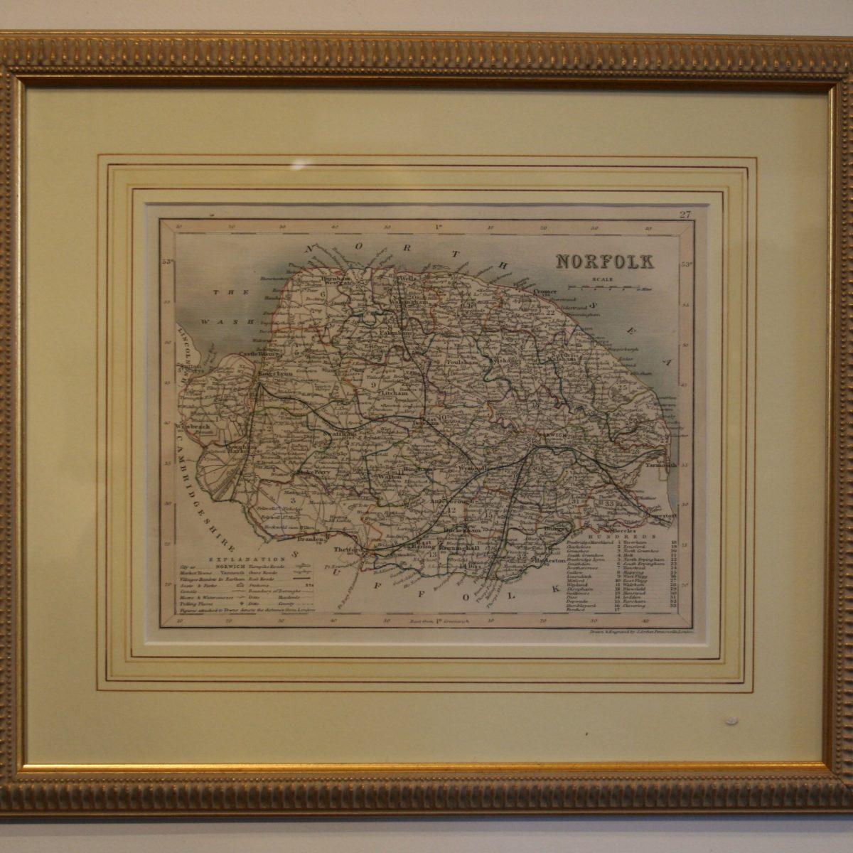Victorian hand coloured map/williamsantiques