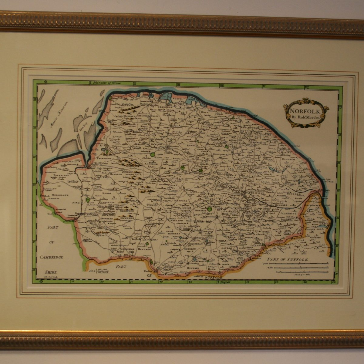 coloured print of Norfolk/williamsantiques