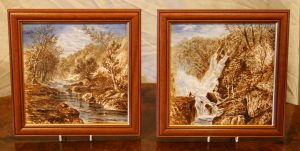 hand painted Victorian tiles depicting scenes in the Yorkshire Dales/williamsantiques