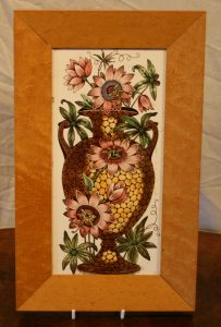 Victorian ceramic tile depicting an urn with passion flowers/williamsantiques