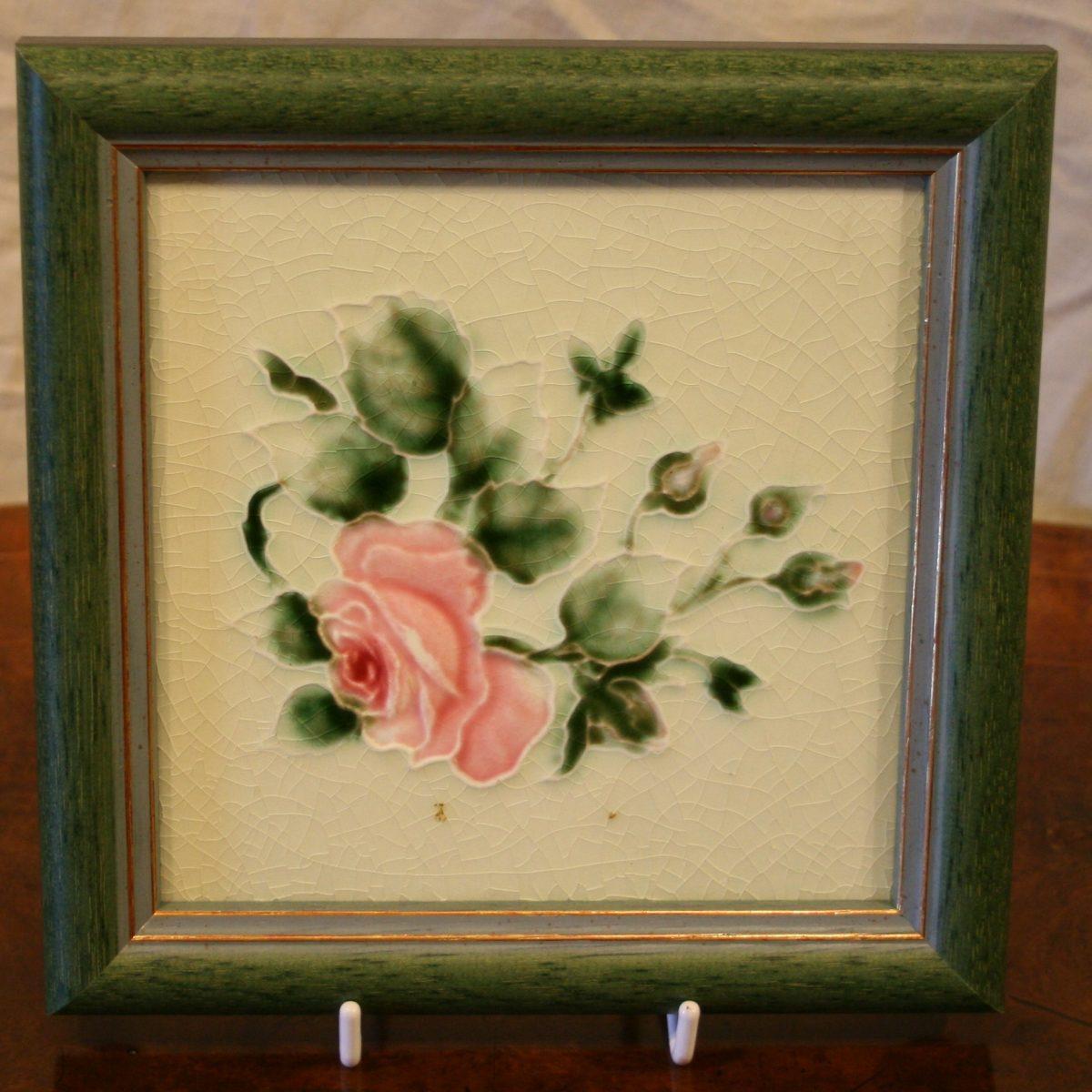 Art Nouveau tile depicting roses/williamsantiques