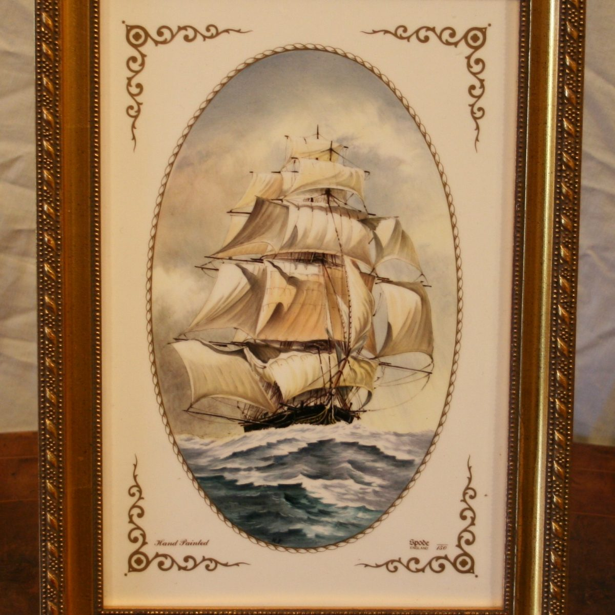 Spode tile with a hand painted picture of a tall sailing ship/williamsantiques