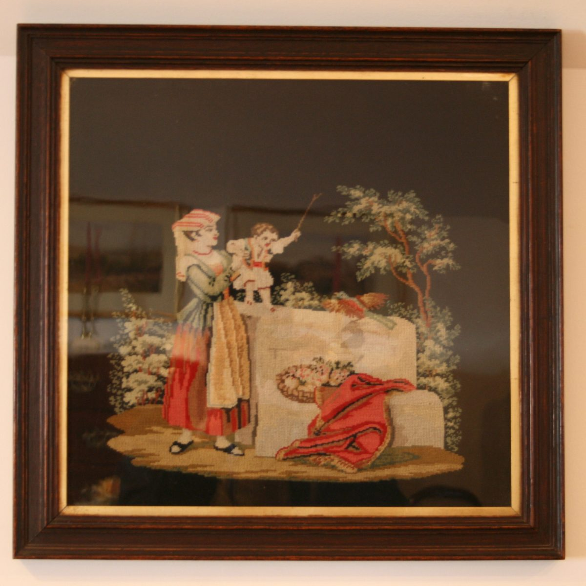 Victorian tapestry of a lady and boy/williamsantiques