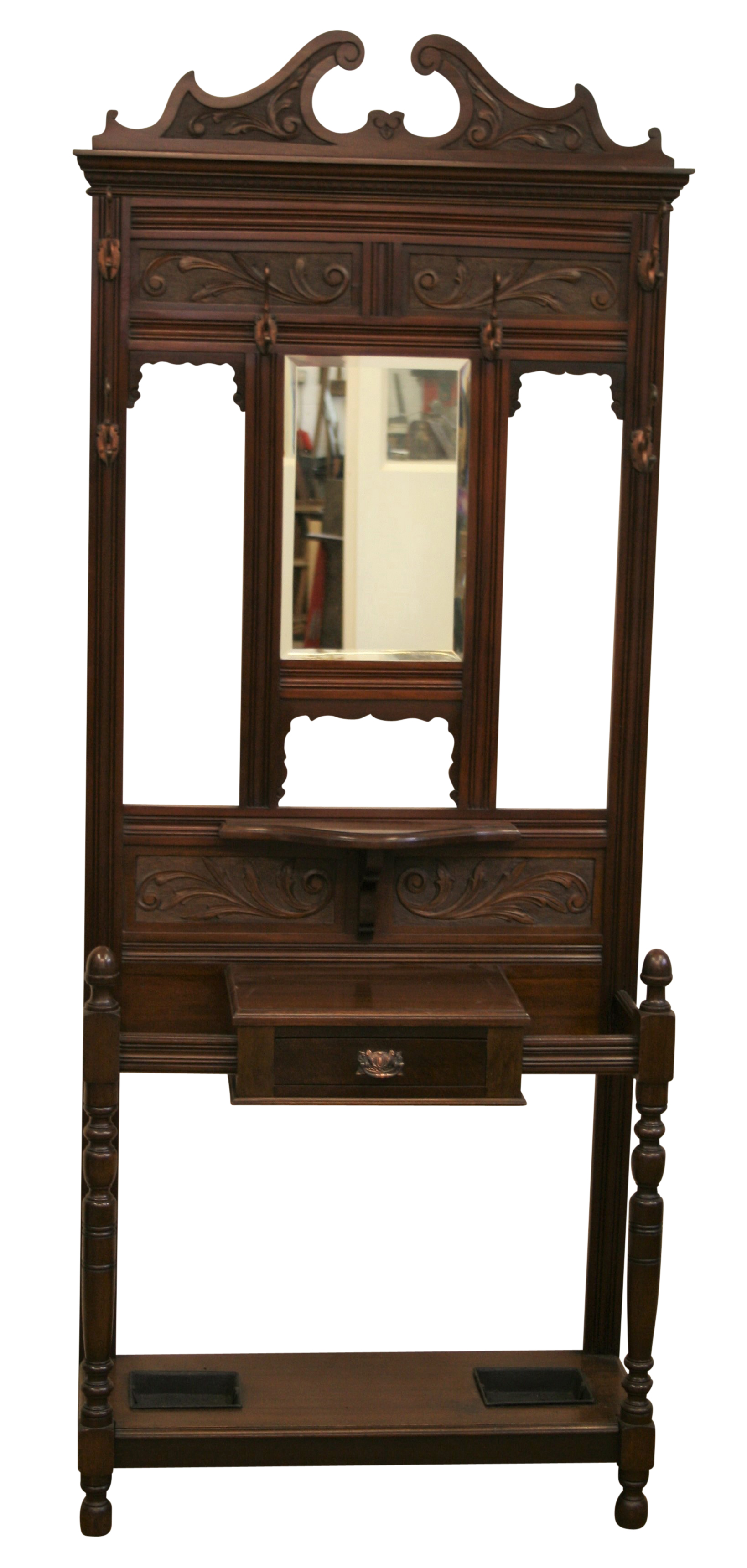 An antique mahogany hall stand with central mirror for Mirror stand