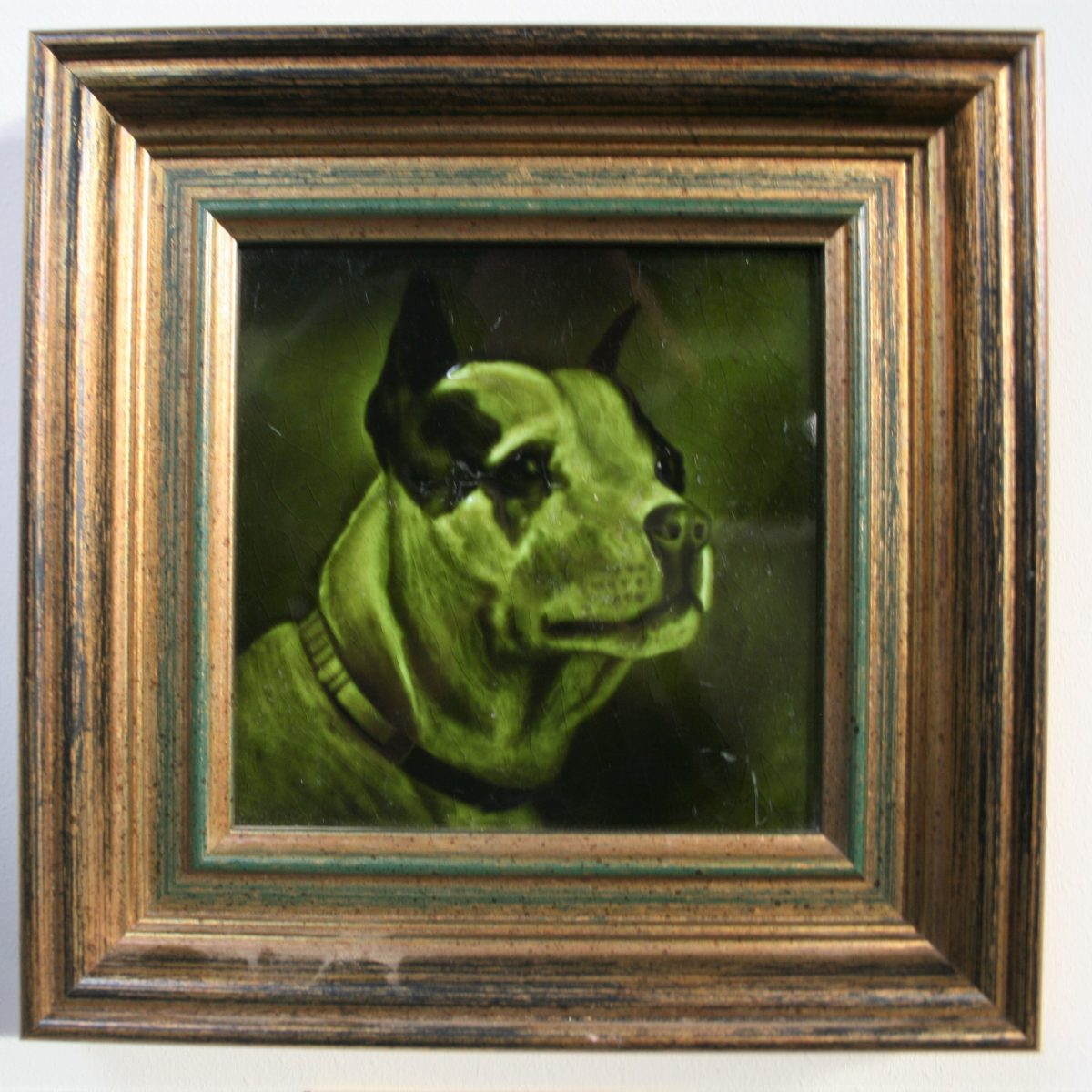 portrait tile of a Staffordshire Bull Terrier/williamsantiques