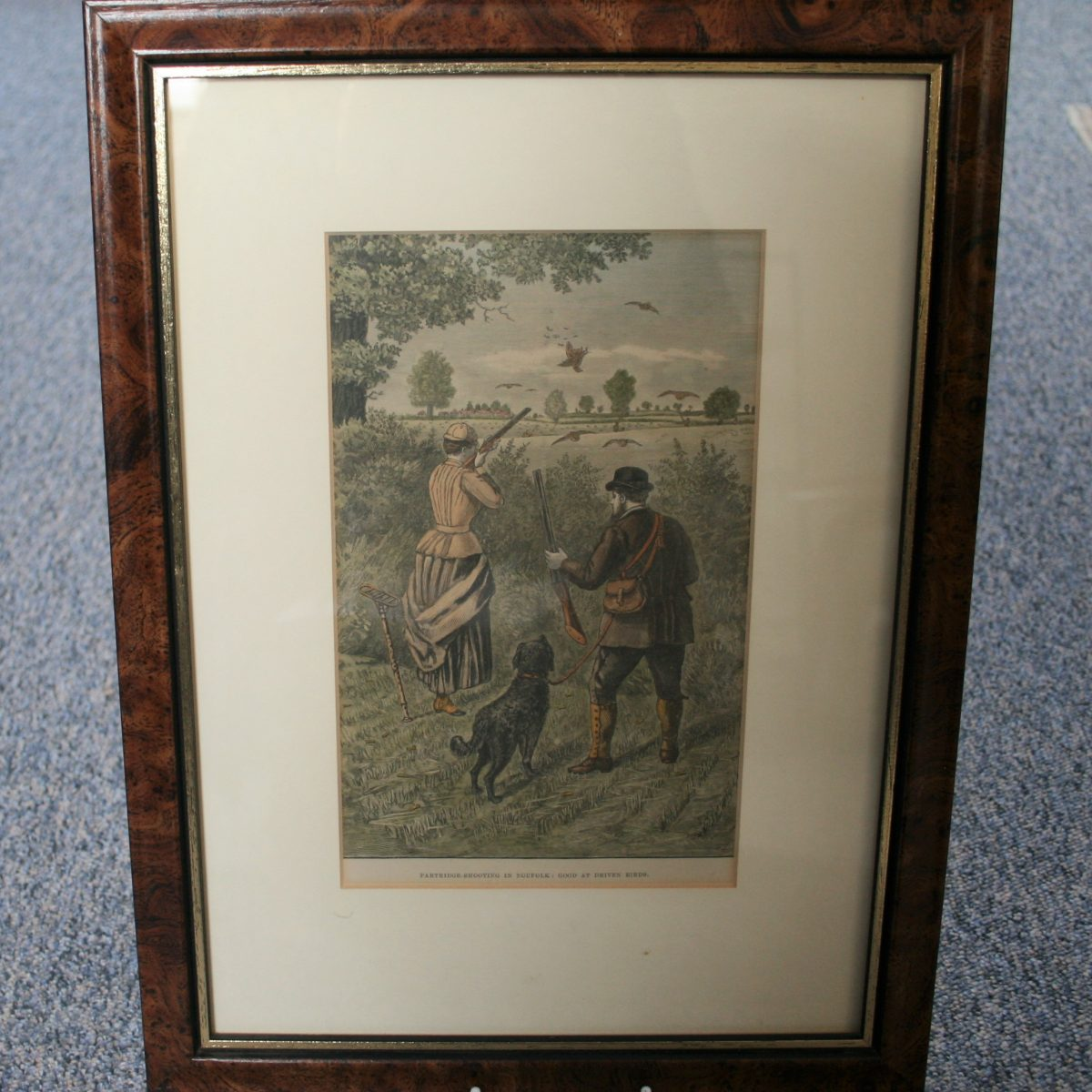 copperplate of partridge shoot/wiliamsantiques