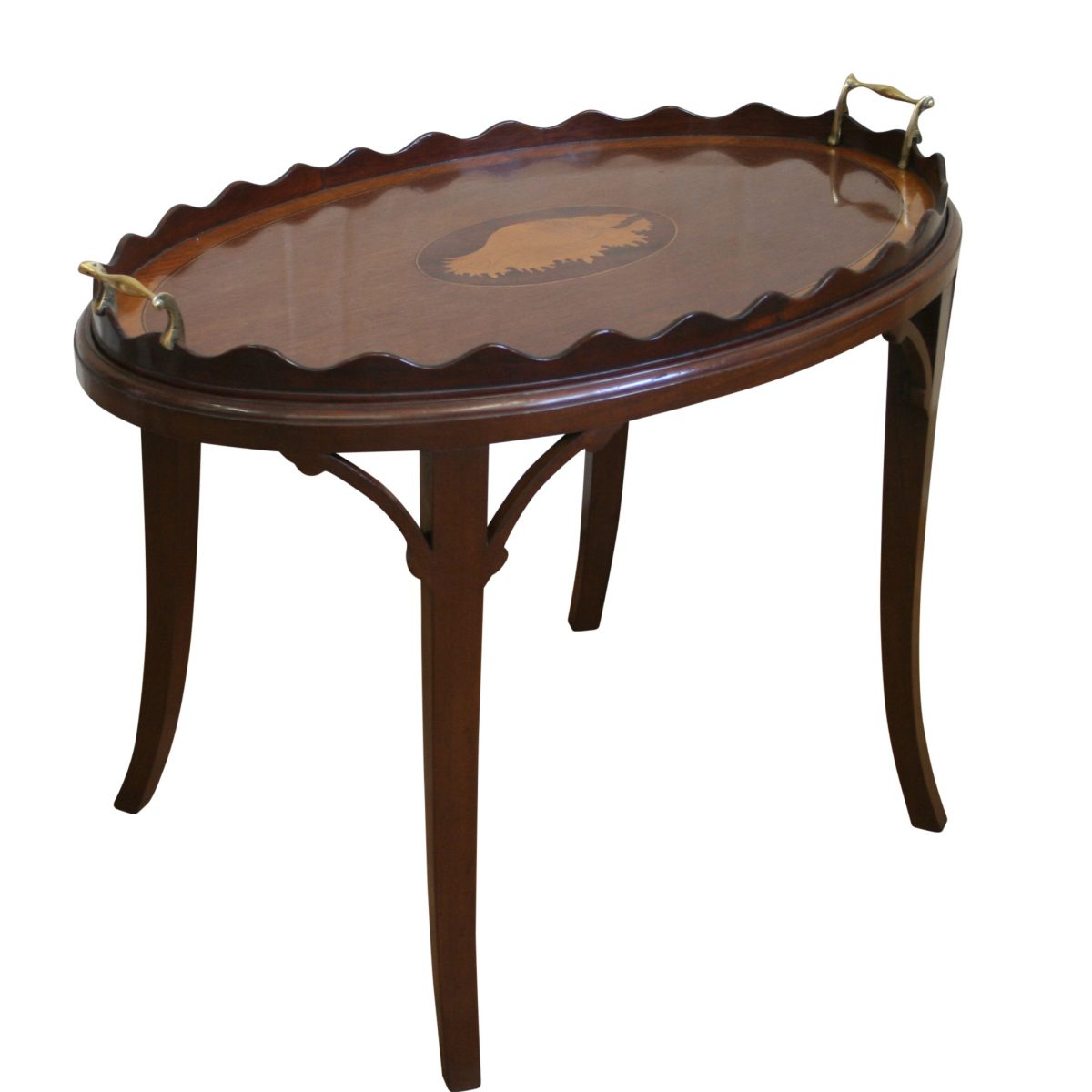 Victorian oval tray on a later stand/williamsantiques
