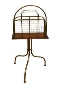 brass and oak magazine stand/williamsantiques
