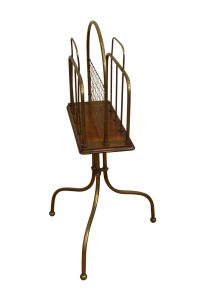 brass and oak magazine stand/williamsantiques