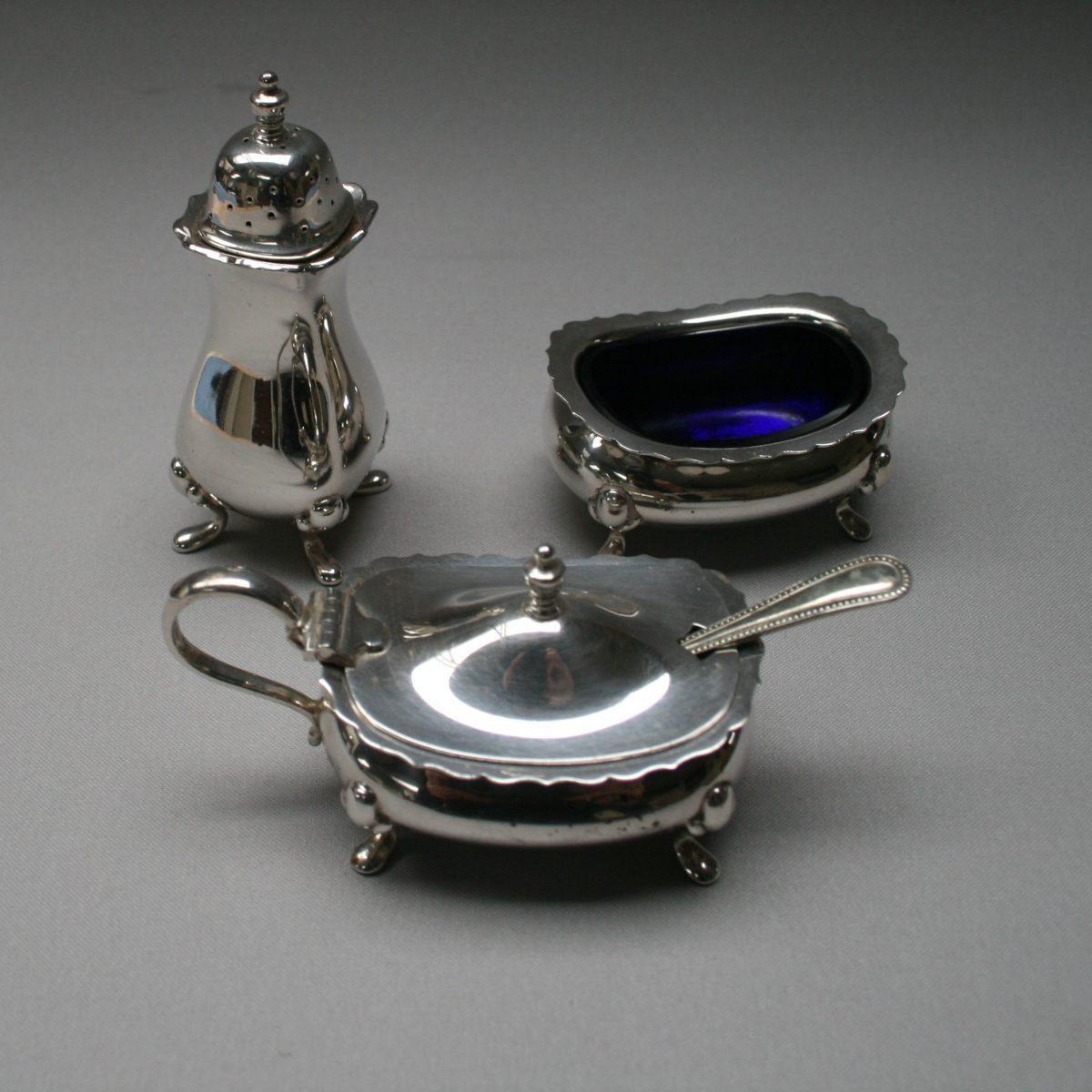 silver plate cruet set/williamsantiques
