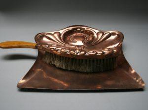 Art Nouveau copper dustpan or crumb tray and brush/williamsantiques