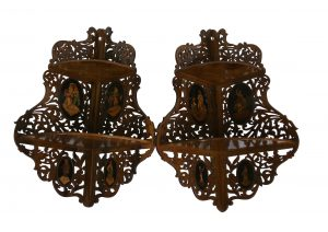 pair of fretted Sorrento ware corner shelves/williamsantiques