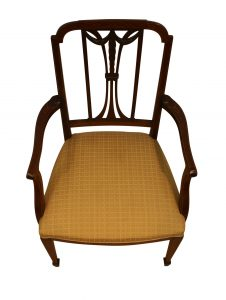 Edwardian mahogany and inlaid open armchair/williamsantiques