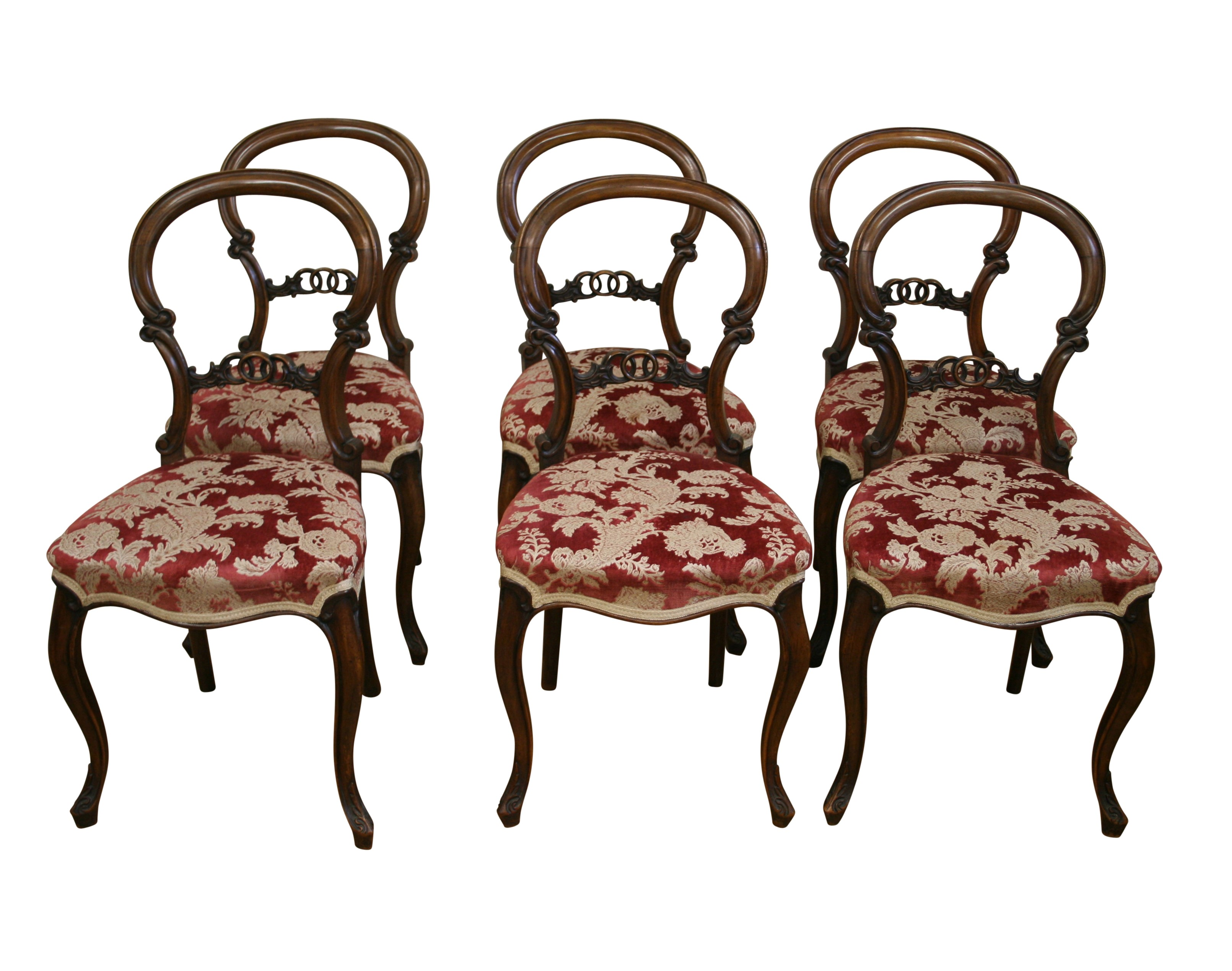 A set of six Victorian walnut balloon back dining chairs ...