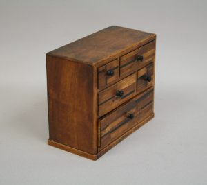 A Japanese marquetry miniature chest/williamantiques