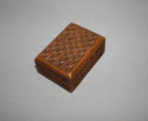 Victorian sycamore carved stamp box/williamsantiques
