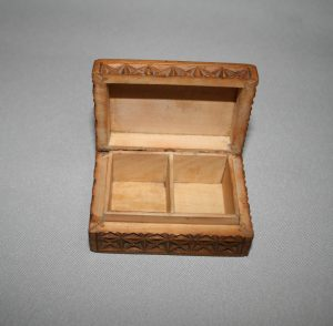 Victorian sycamore carved stamp box/williamsantiques