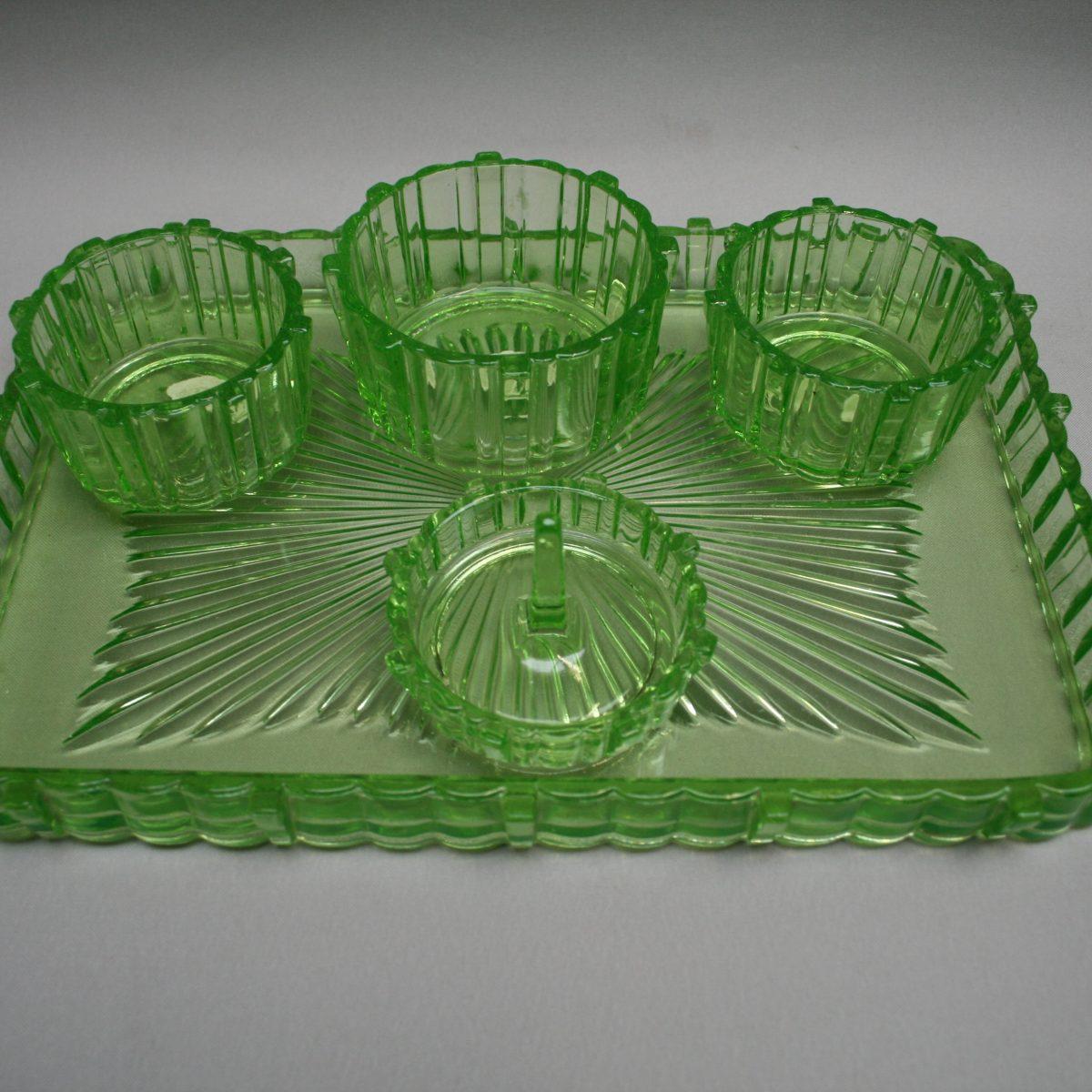 green glass dressing table set/williamsantiques