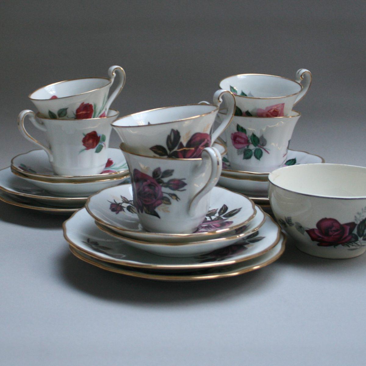 six piece rose tea set