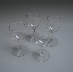 set of four glass sherry glasses