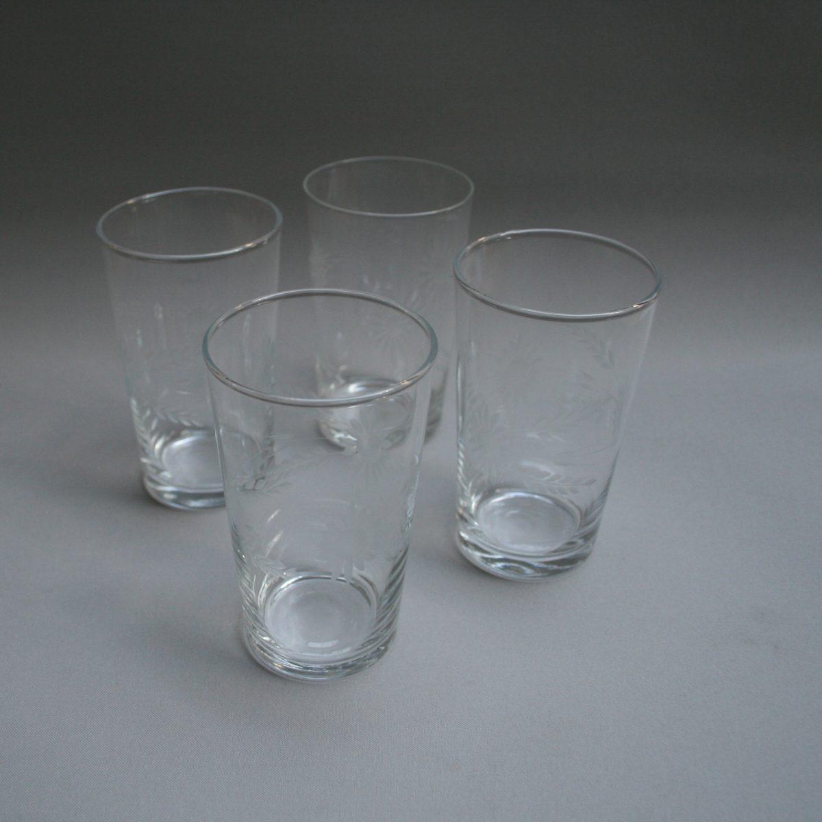 set of four cut glass tumblers