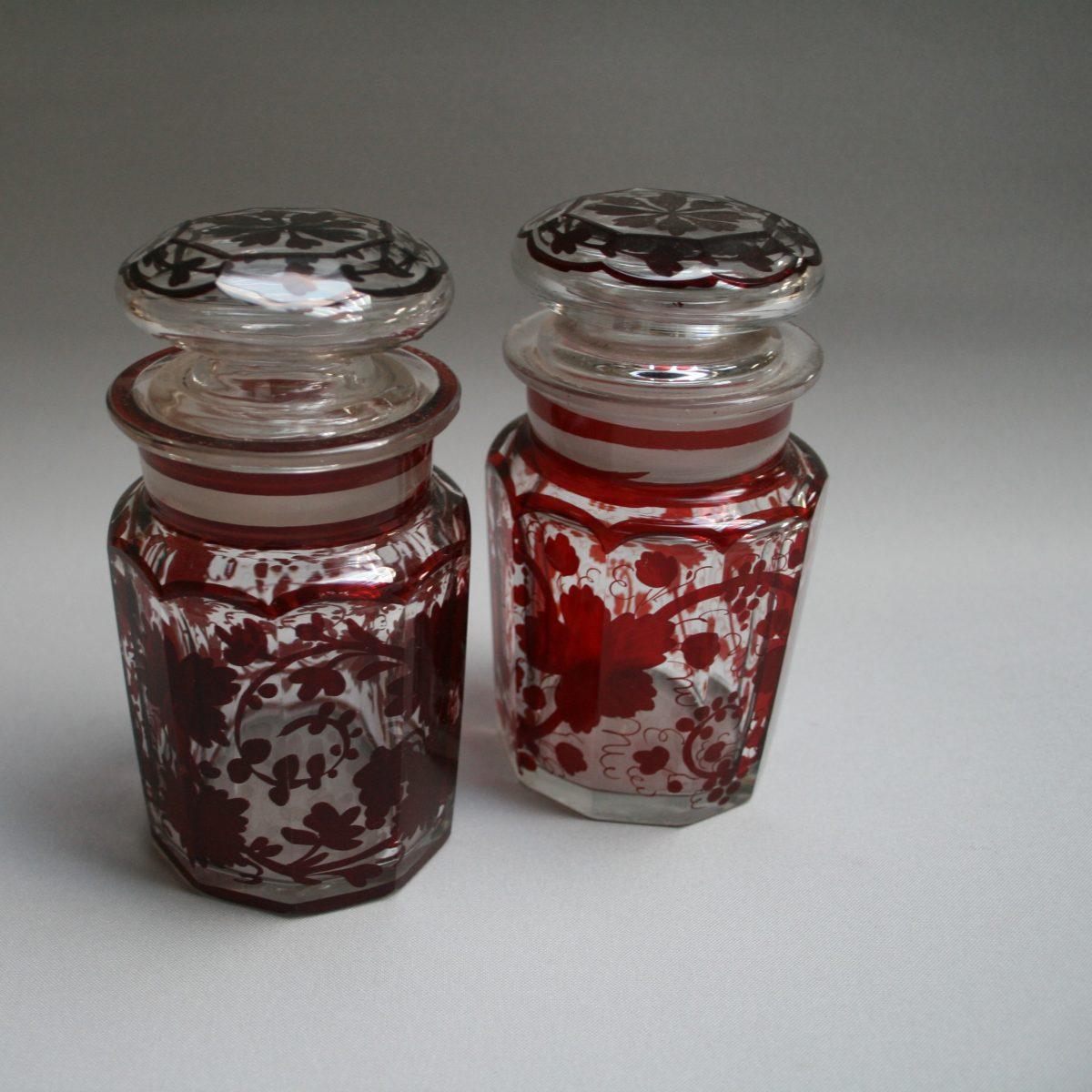 pair of Bohemian ruby flash glass pickle jars/williamsantiques