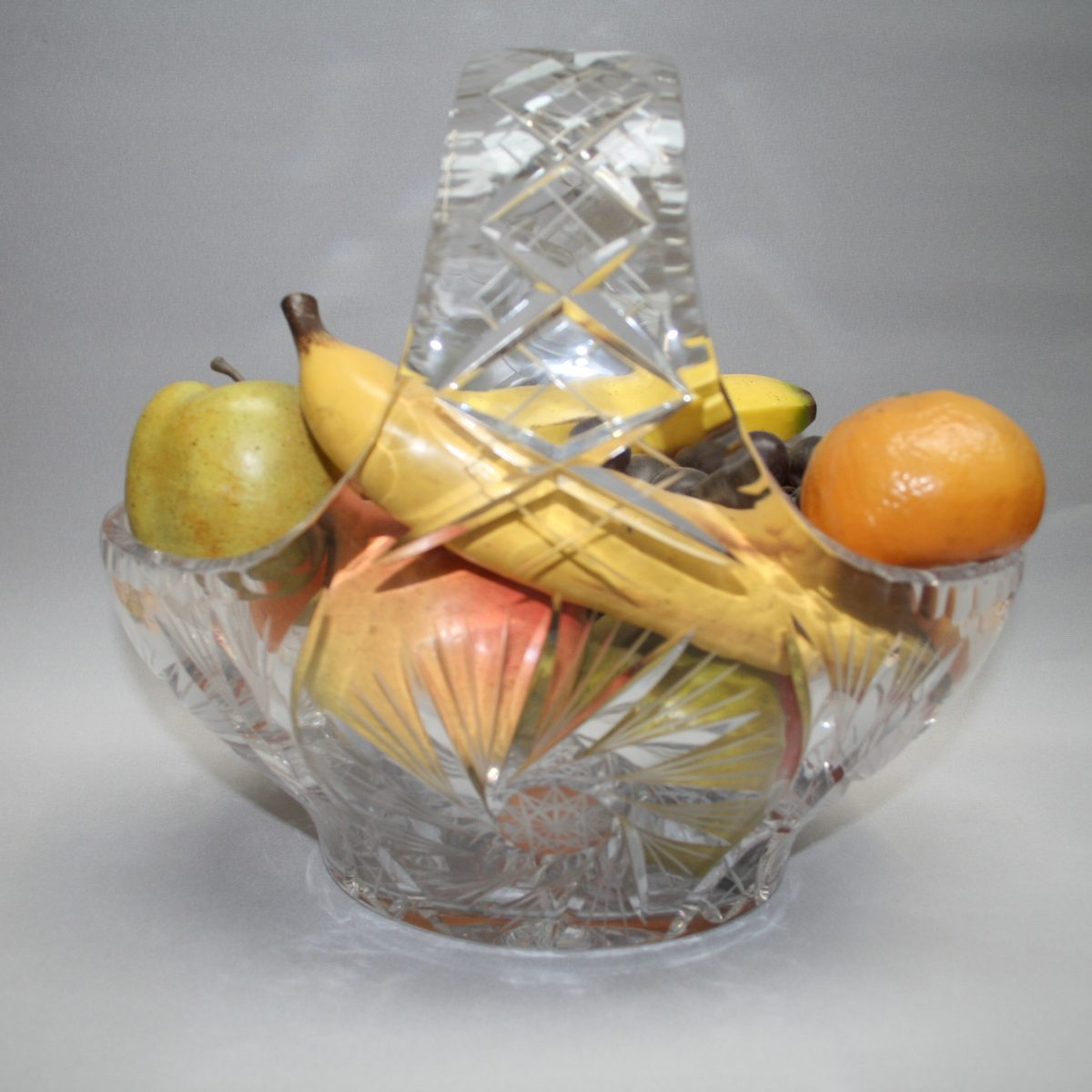 large cut glass fruit basket/williamsantiques
