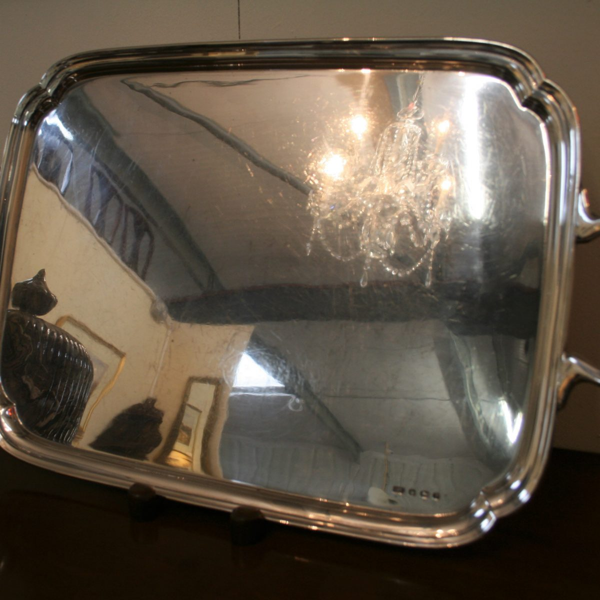 rectangular solid silver tray by Emile Viner/williamsantiques