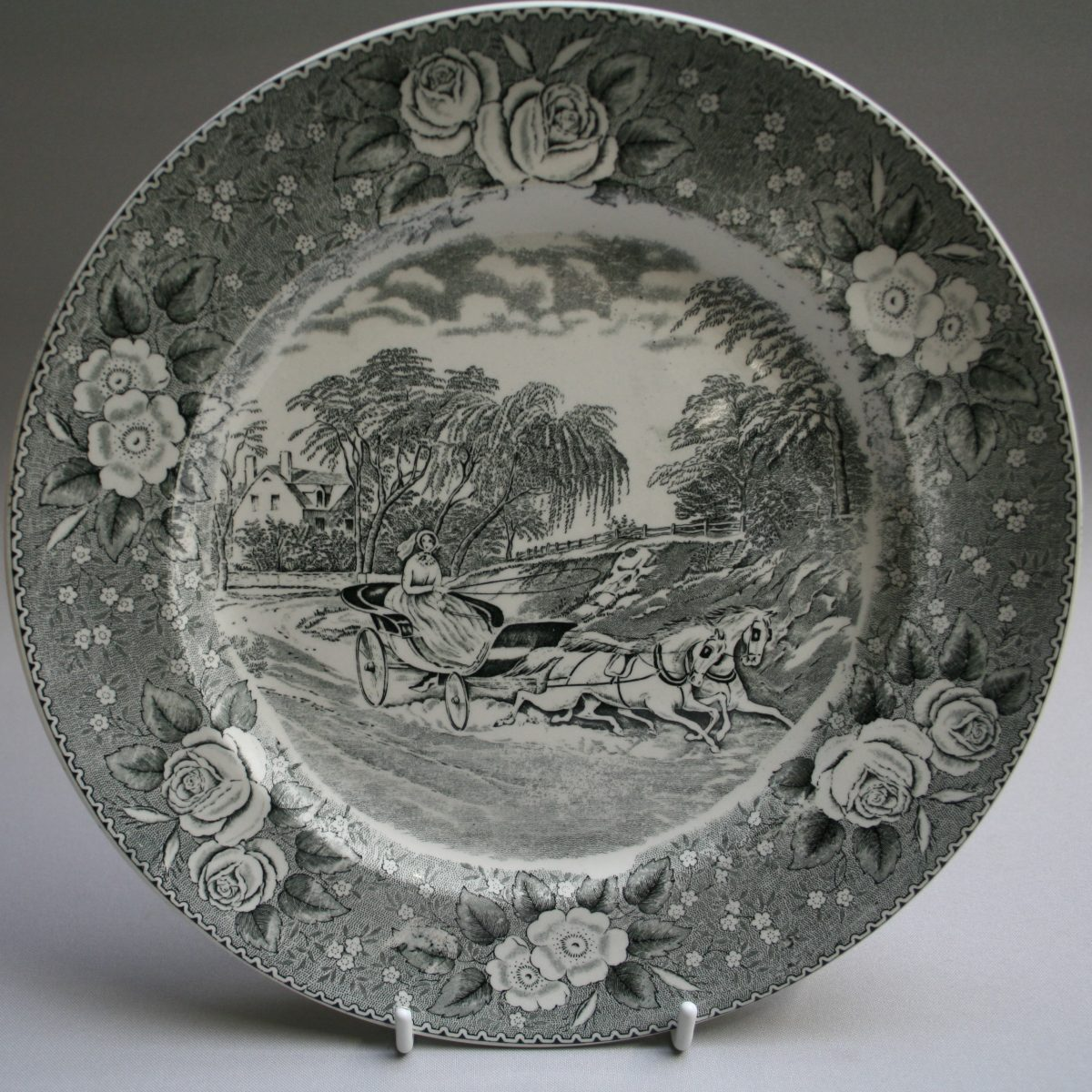 black and white Adams Pottery dinner plate/williamsantiques