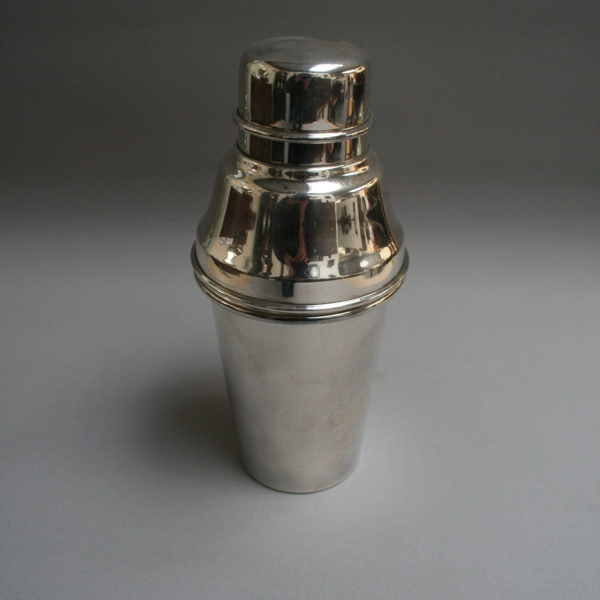 silver plate 1950's cocktail shaker/williamsantiques