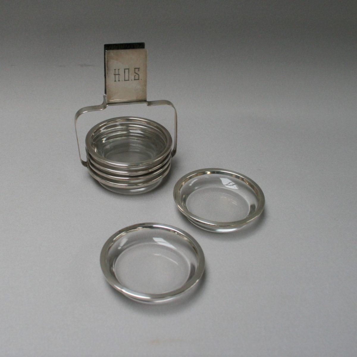 set of six silver rimmed ashtrays/williamsantiques