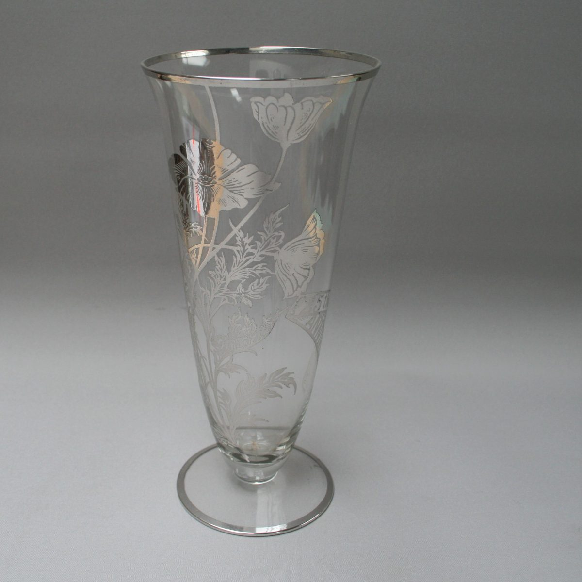 Victorian glass vase which has an overlay of silver flowers/willaimsantiques