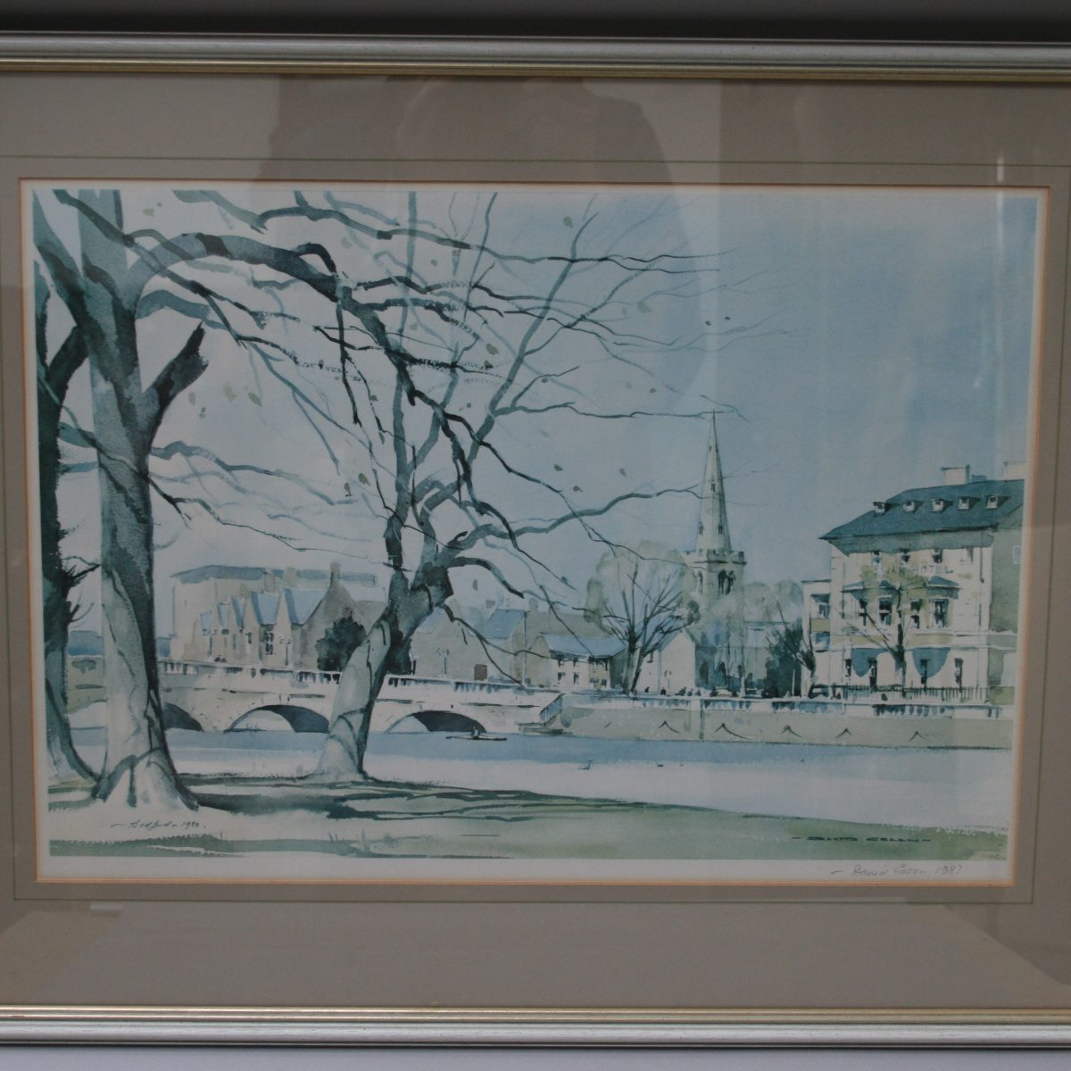 David Green print of the Swan Hotel in Bedford/williamsantiques