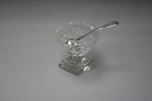 Georgian silver salt spoon with contemporary glass salt pot/williamsantiques