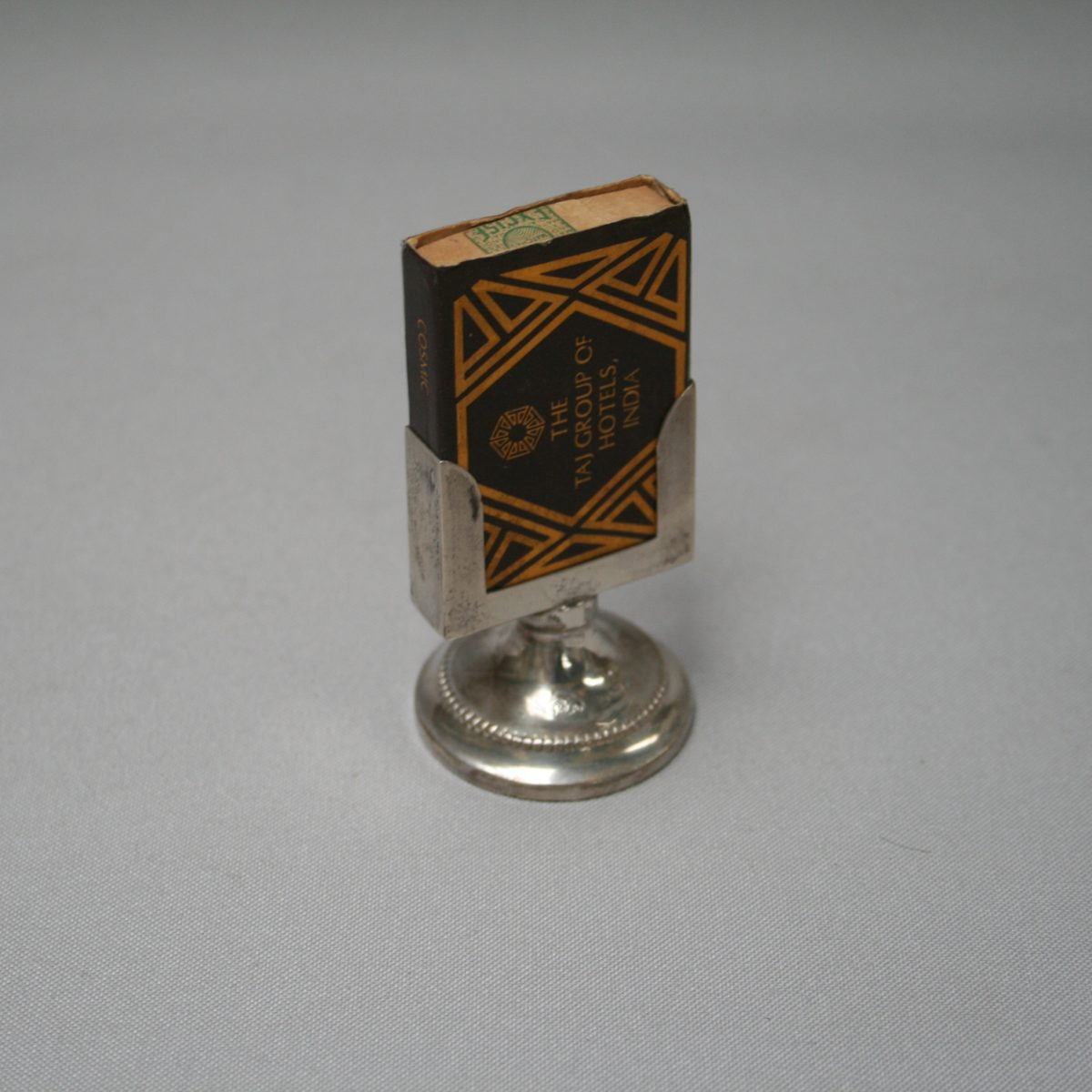 silver matchbox holder on stand/williamsantiques