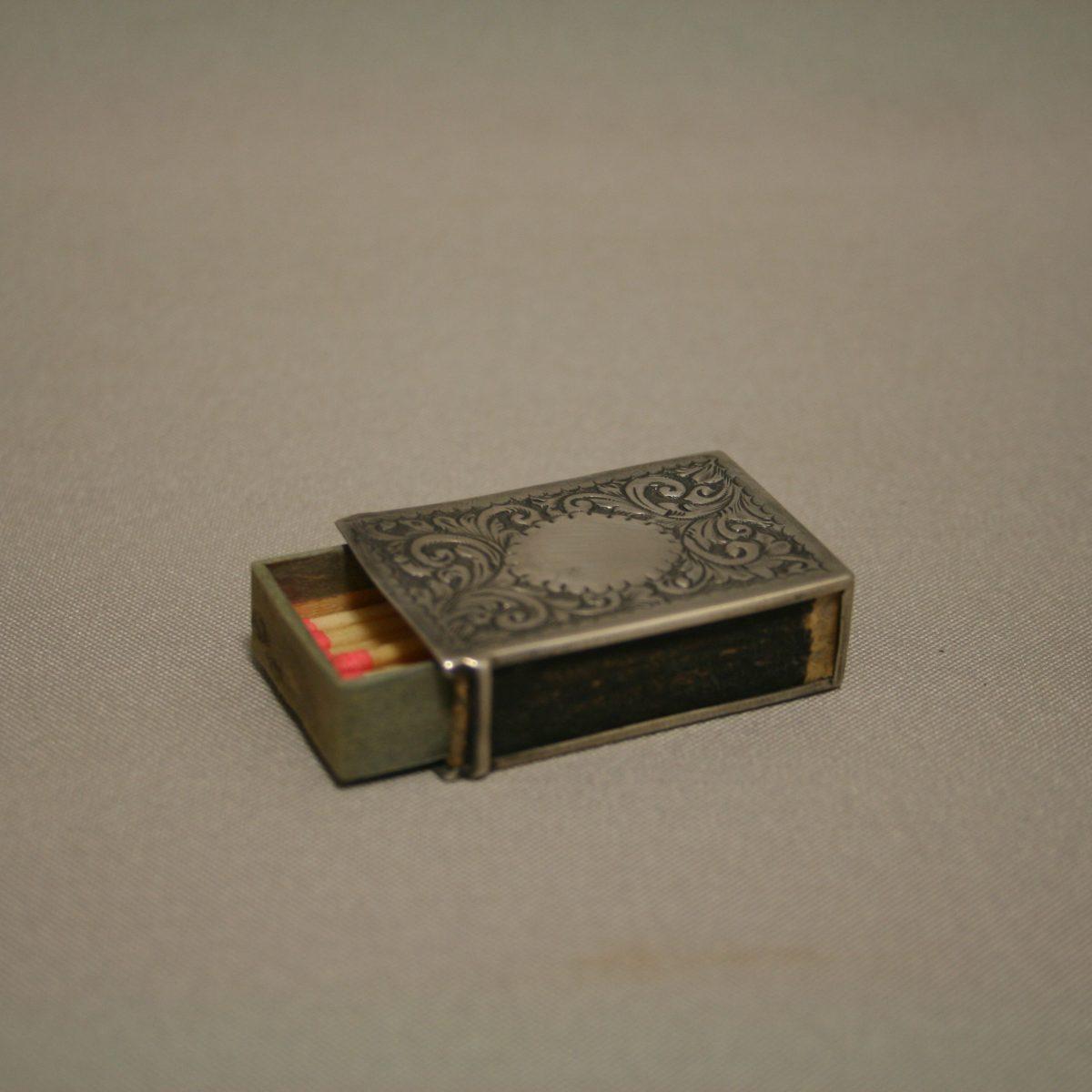 small silver match box case/williamsantiques