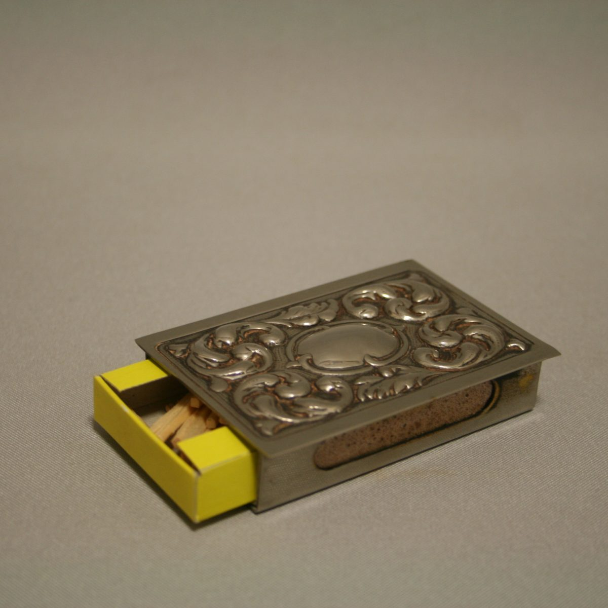 White metal match box case