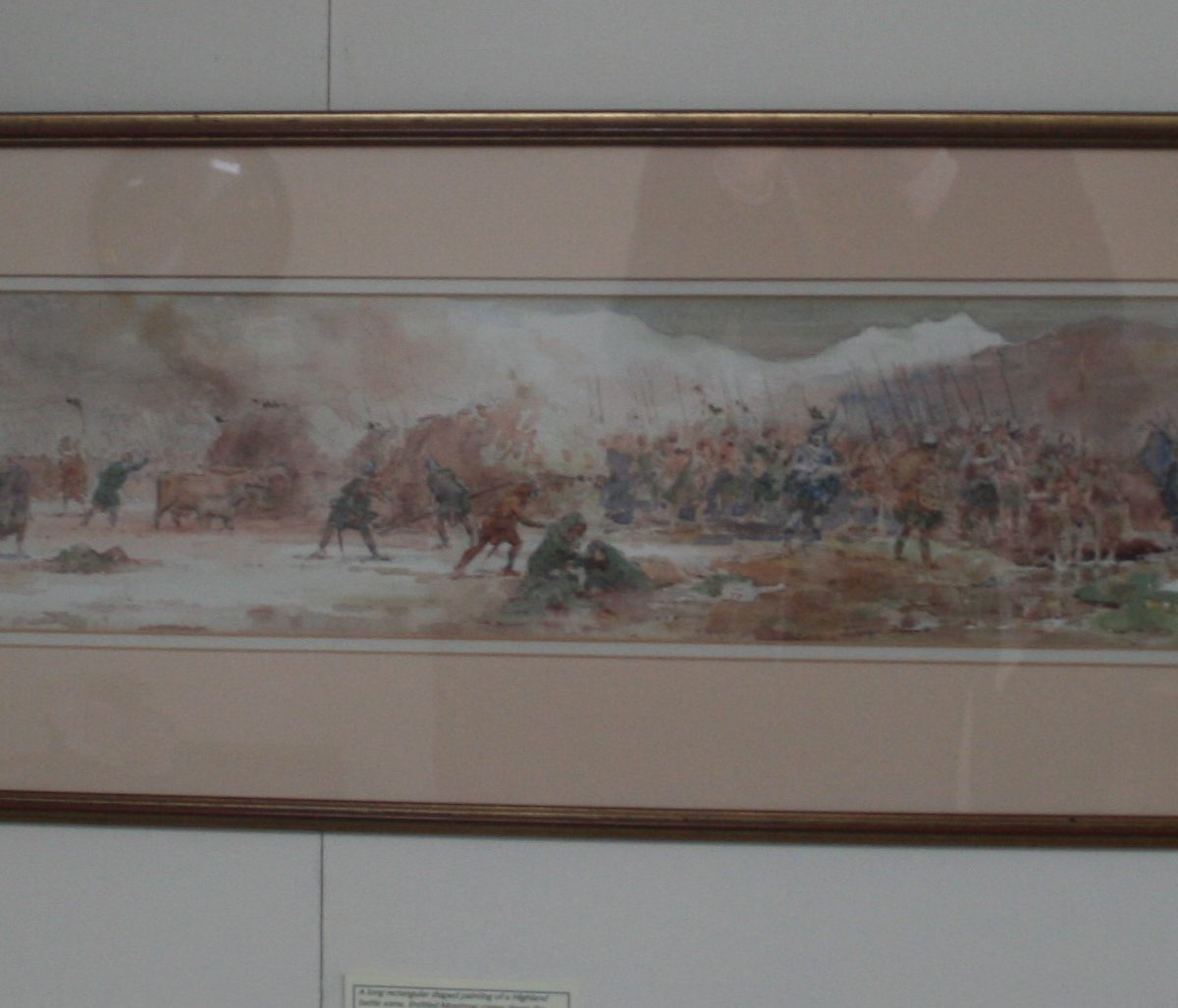 watercolour of a Highland battle scene, Montrose comes down the Dochart/williamsantiques