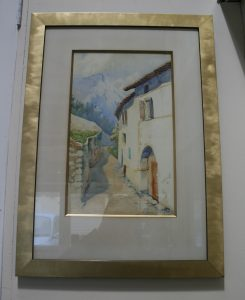 A watercolour of a village scene in the Alps/williamsantiques