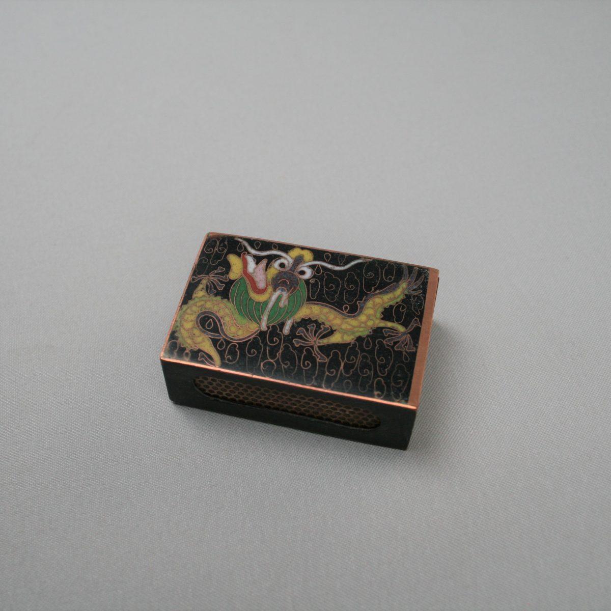 metal matchbox cover with cloisonné designs/williamsantiques
