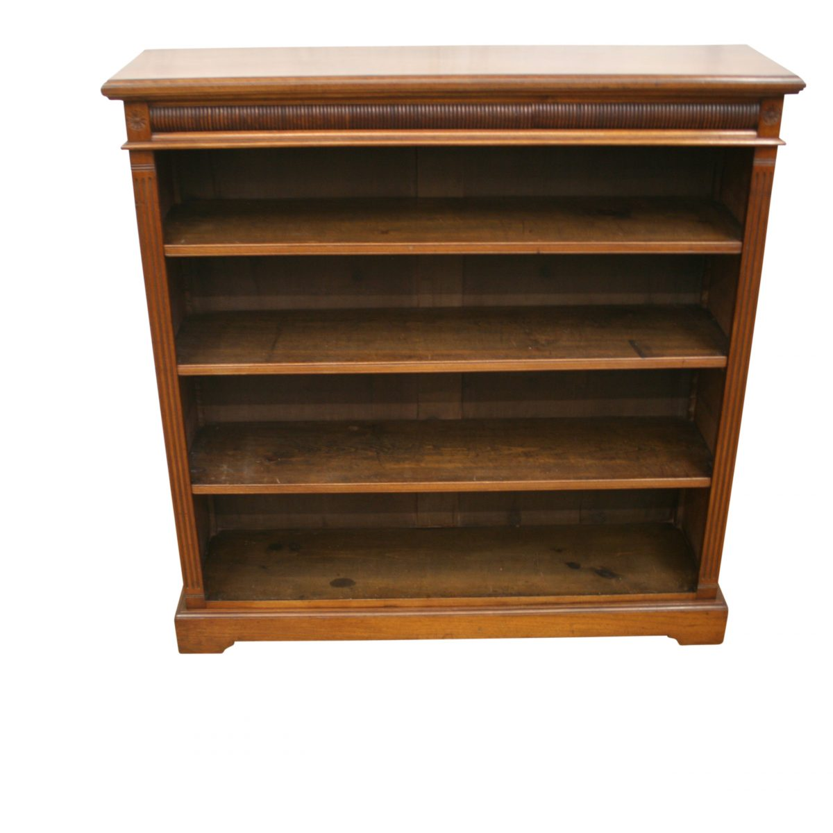 late Victorian walnut open front bookcase/williamsantiques