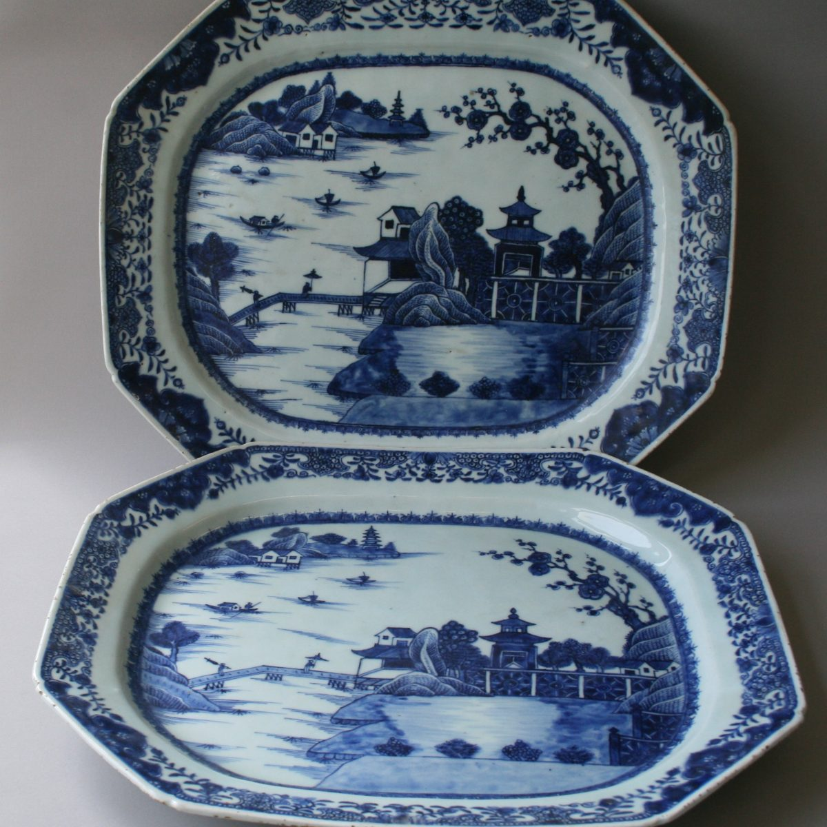 two large heavy blue and white pearlware serving platters/williamsantiques