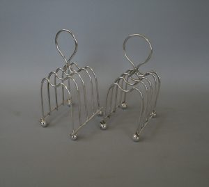 pair of silver plate toast racks/williamsantiques