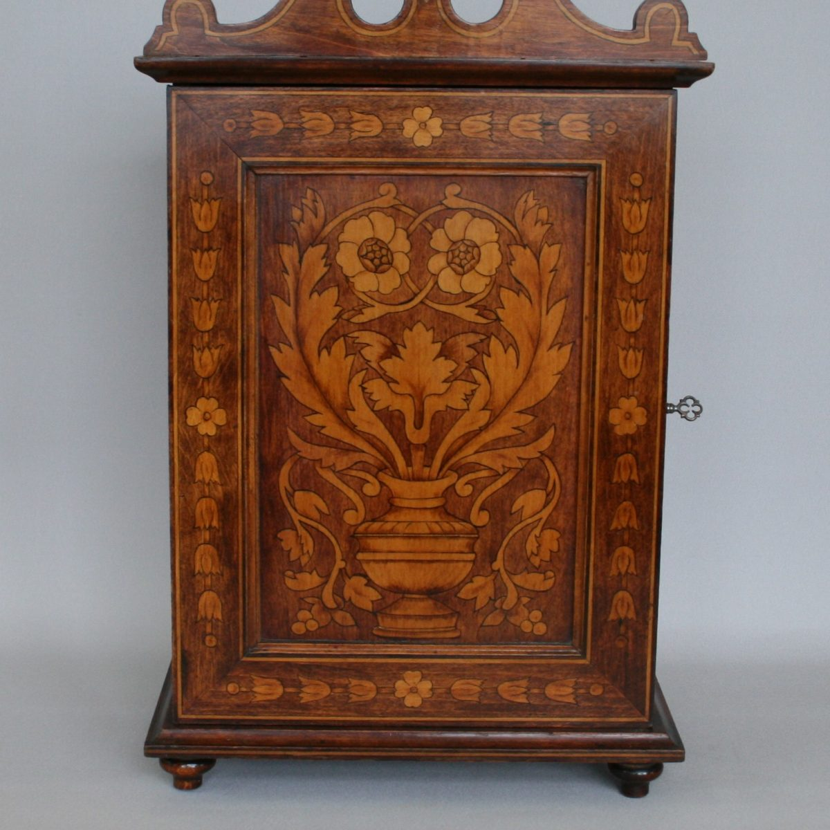 sycamore table cabinet with an inked in marquetry design/williamsantiques