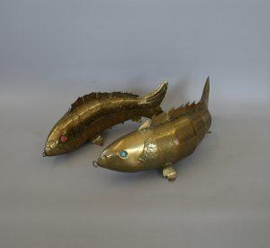Pair of Antique Articulated Brass Carp Fish/williamsantiques