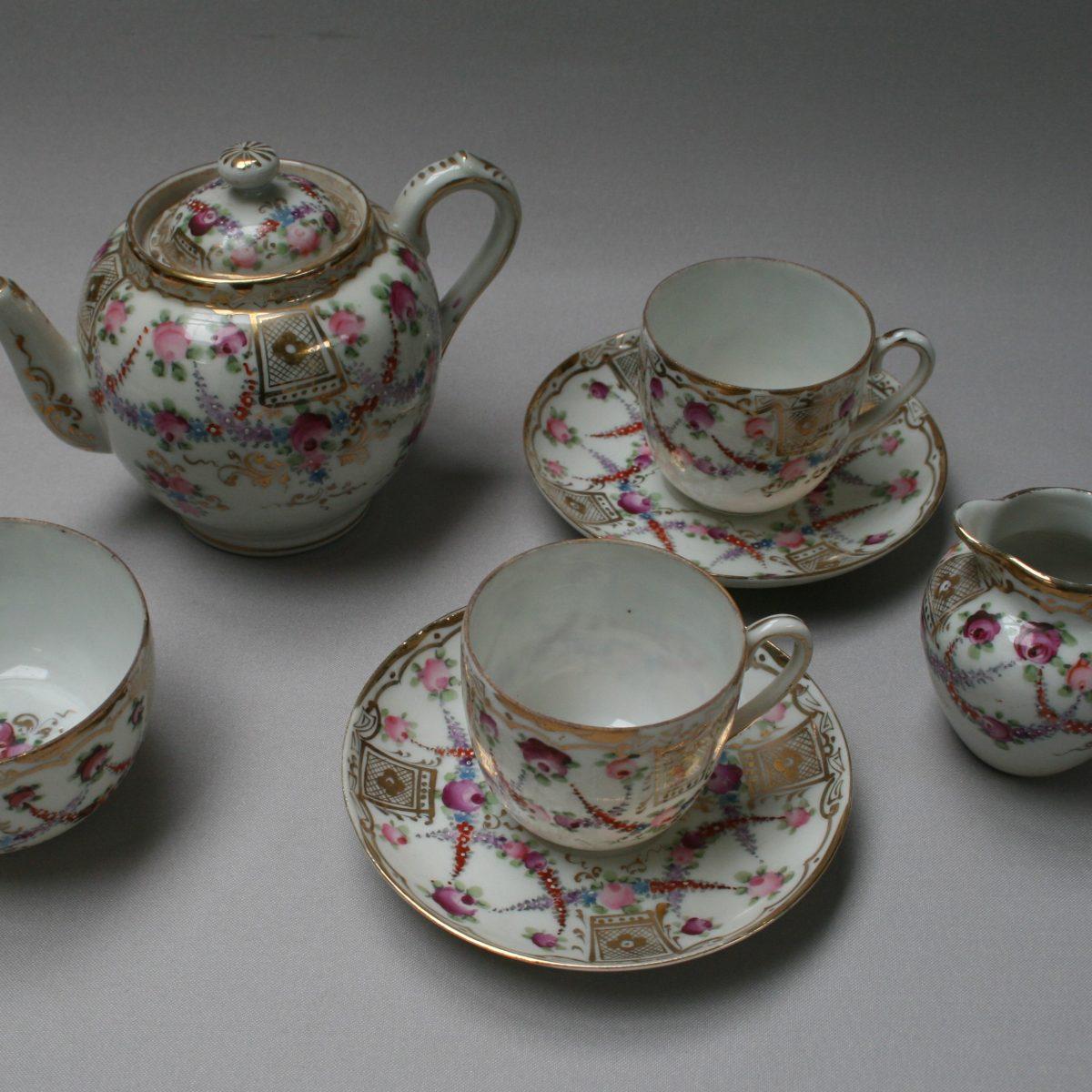 Continental 7 piece porcelain calling tea set/williamsantiques