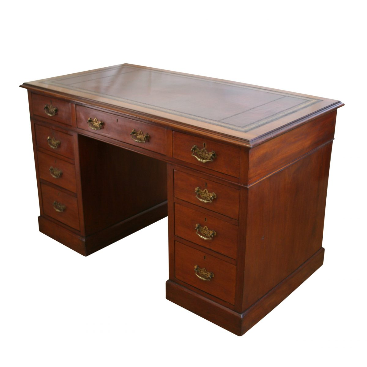 Edwardian mahogany pedestal desk/williamsantiques